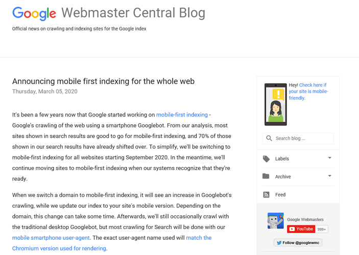 Announcing mobile first indexing for the whole web